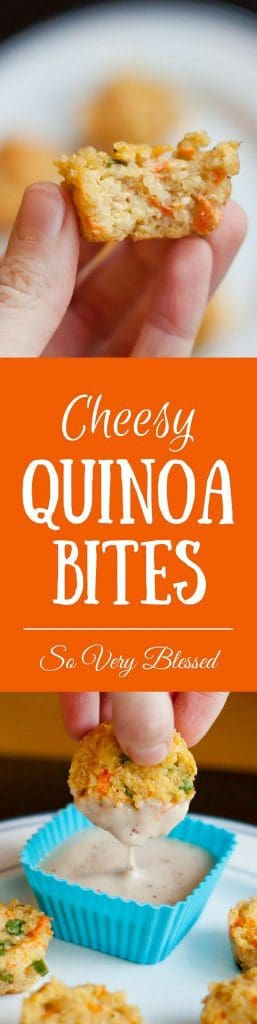 Cheesy Quinoa Bites : So Very Blessed - These dippable protein-packed bites make the perfect healthy and kid-approved snack, lunch, or dinner!