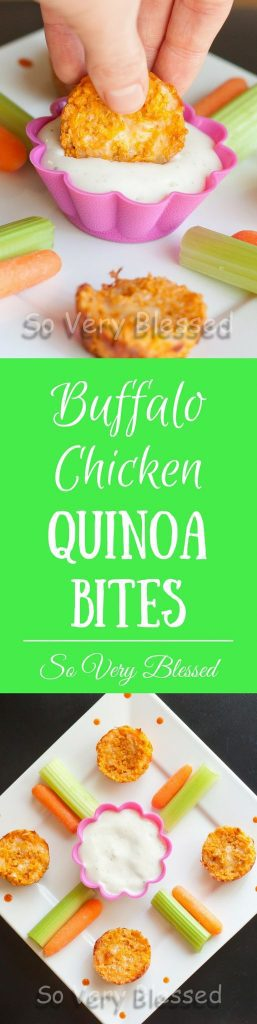 Quinoa, chicken, buffalo sauce, and cheese come together to make the perfect healthy snack to serve for the big game!