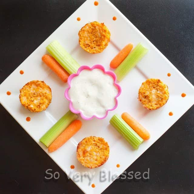 Buffalo Chicken Quinoa Bites Recipe Quinoa Pizza Bites Recipe from So Very Blessed - an easy and delicious snack packed with protein! #healthy #recipe #quinoa