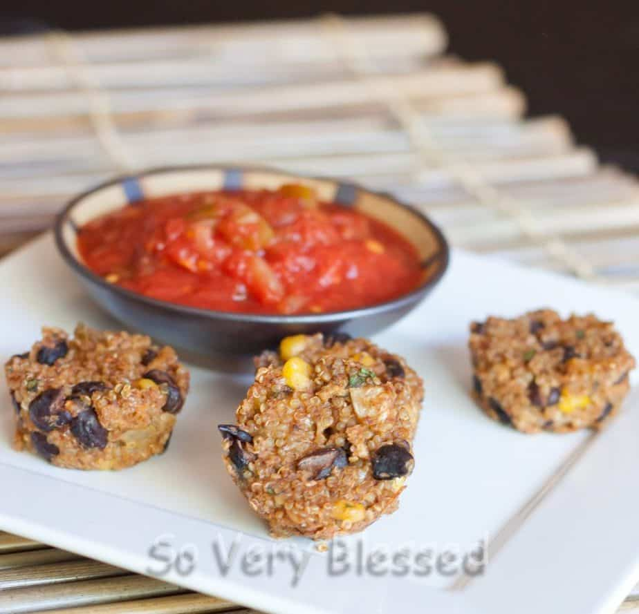Southwestern Quinoa Bites Recipe : So Very Blessed - This protein and flavor-packed quinoa bite combines black beans, corn, green chiles, and fresh cilantro to make a healthy southwestern snack or side dish.