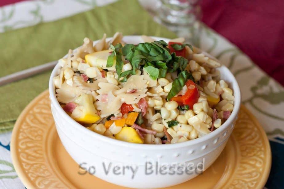 Sweet Corn Pasta Recipe : So Very Blessed