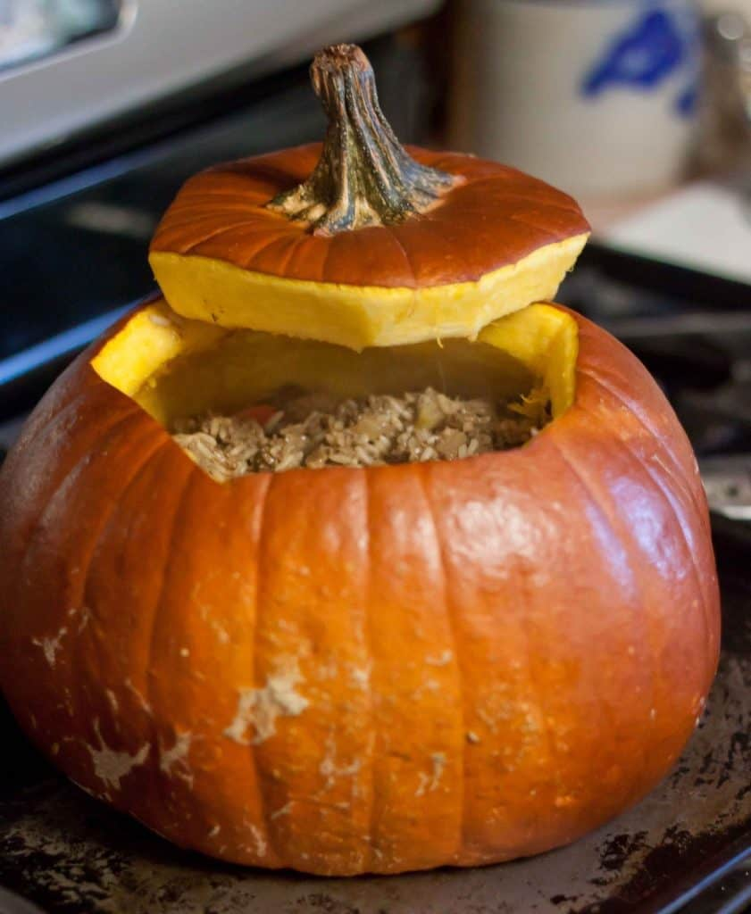 Dinner In A Pumpkin : So Very Blessed - A hearty, comfort food meal made with rice and ground beef, then festively baked right in a pumpkin!
