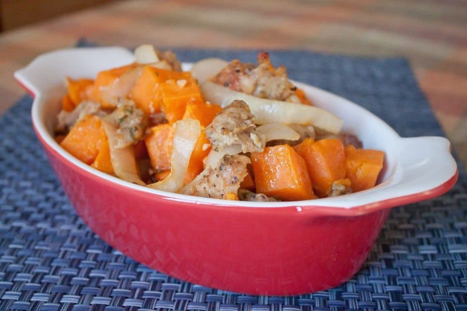 Roasted Rosemary Sweet Potatoes & Chicken Sausage Recipe: So Very Blessed –  This one dish dinner brings together lean protein & vegetables and roasts them to add a touch of sweetness and a ton of flavor for the perfect healthy dinner! #healthy #dinner