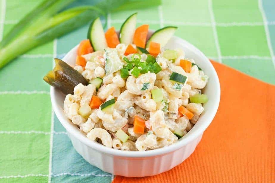 Lighter Macaroni Salad Recipe : So Very Blessed. This macaroni salad is lightened up by using whole wheat pasta, Greek yogurt, and lots of fresh veggies. The perfect dish for a healthy picnic!