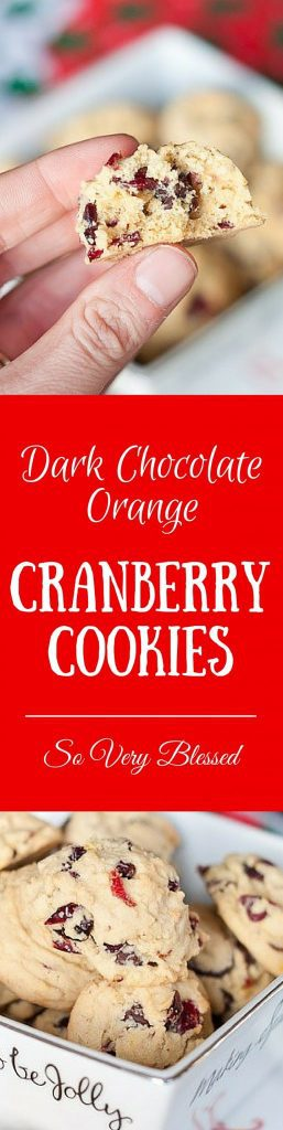 Dark Chocolate Orange-Cranberry Cookies Recipe : So Very Blessed - These soft cookies are full of dark chocolate bits and dried cranberries with just a hint of orange flavor - the perfect addition to any Christmas cookie exchange!