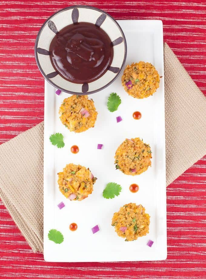 Barbecue Chicken Quinoa Bites Recipe : So Very Blessed - This quinoa bite brings all of the flavors of a fresh barbecue chicken pizza into a healthy & protein-packed bite everybody will love.