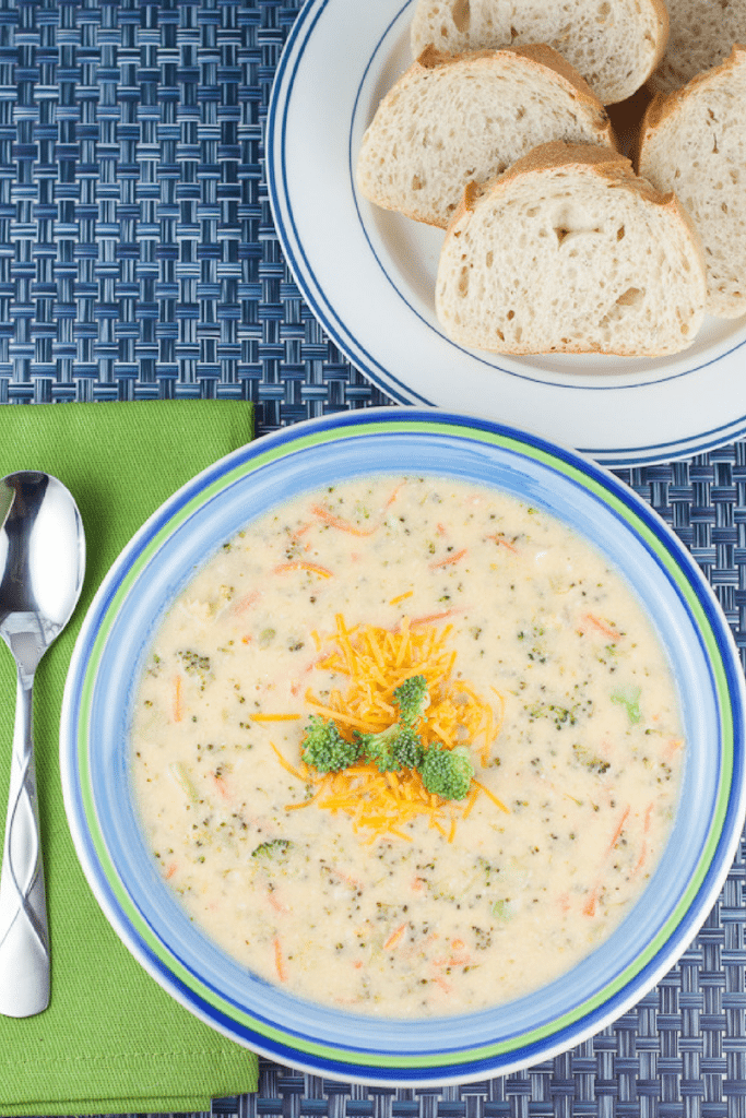 This Broccoli Cheese Soup is packed with veggies and uses Greek yogurt instead of heavy cream to make it a healthier and protein-packed comfort food for those chilly weeknight dinners.