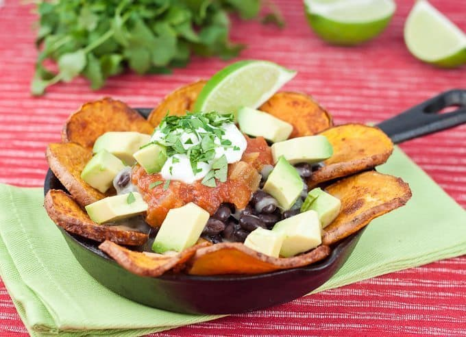 Sweet Potato Nachos Recipe : So Very Blessed - Sweet Potato Nachos Recipe : So Very Blessed - Roasted sweet potato rounds, black beans, avocado, Greek yogurt, and melted cheese make these wonderfully delicious nachos a healthy dinner choice!