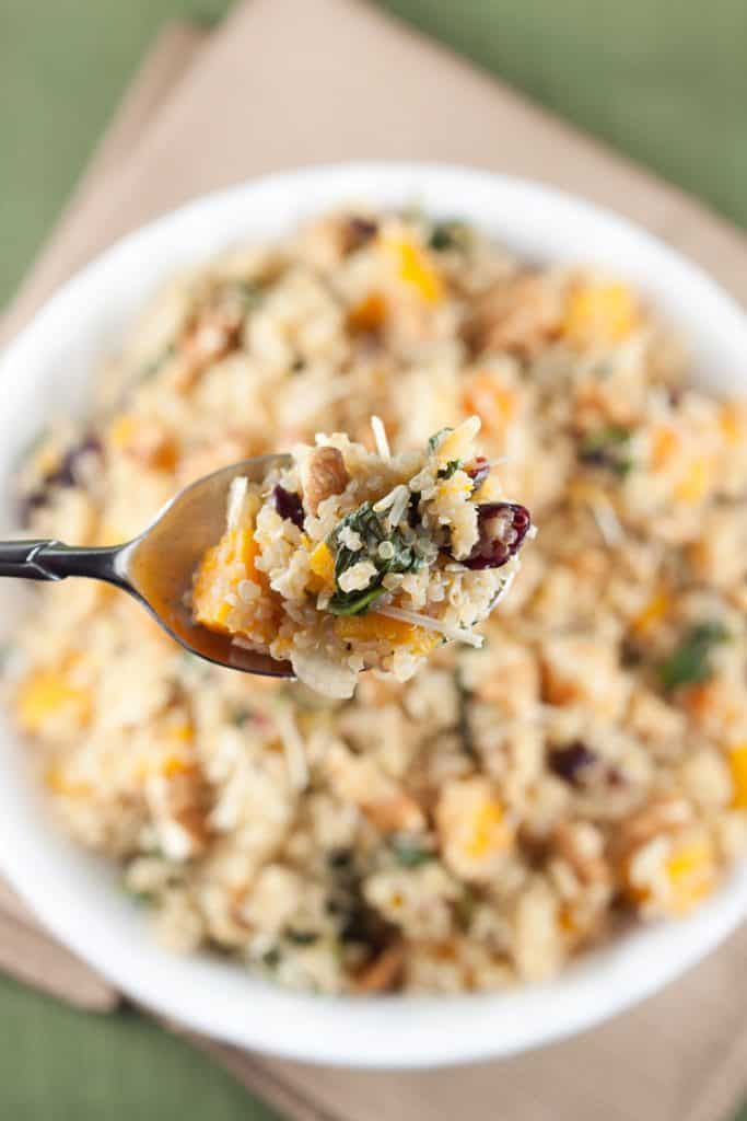 Harvest Quinoa Salad : So Very Blessed - This healthy quinoa salad is full of butternut squash, walnuts, cranberries, and Parmesan to make for the perfect Fall side dish, perfect for a party!