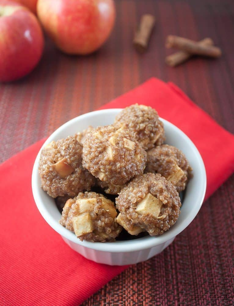 Apple Cinnamon Breakfast Quinoa Bites Recipe : So Very Blessed - These protein-packed quinoa bites bursting with apples and sweet cinnamon are a healthy & delicious make-ahead breakfast.